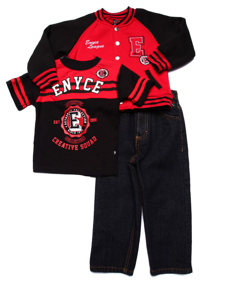 Enyce - Boys Red 3 Pc Set - Varsity Jkt, Tee, & Jeans (2T-4T)