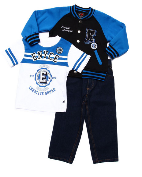 Enyce - Boys Blue 3 Pc Set - Varsity Jkt, Tee, & Jeans (2T-4T) - $40.00