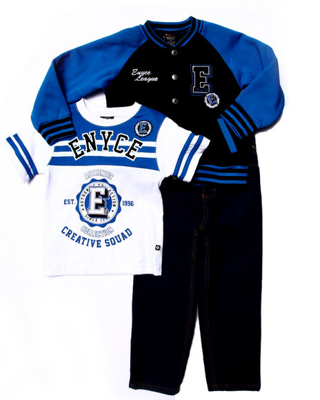 Enyce - Boys Blue 3 Pc Set - Varsity Jkt, Tee, & Jeans (4-7)