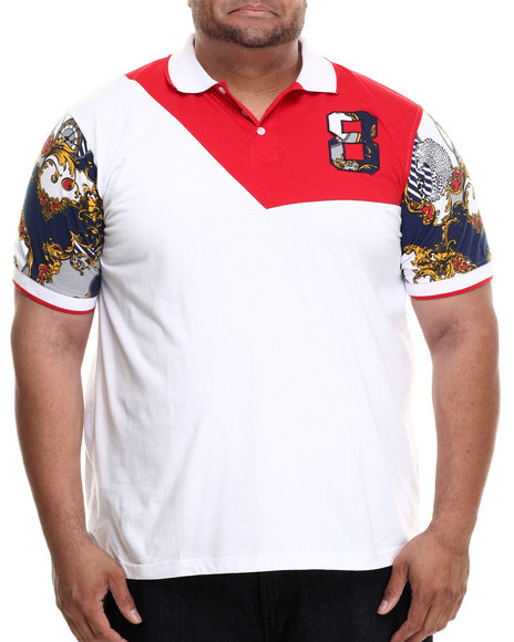 Eight 732 - Men White The World Lux S/S Polo (B&T) - $51.99