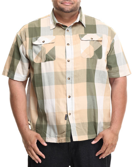 Rocawear - Men Green Buffalo Check S/S Buttond-Down (B&T)