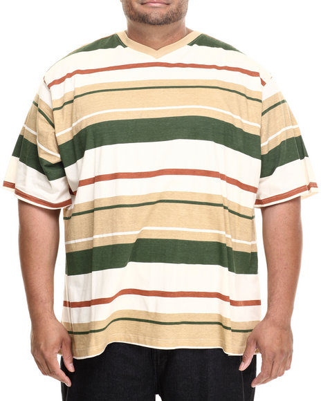 Ur-ID 186015 Rocawear - Men Beige Industrial Stripe S/S V-Neck Tee (B&T)