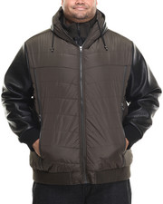Men - Quilted Faux - Leather Sleeved Nylon Bomber (B&T)