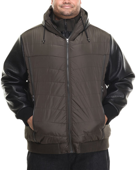 Sean John - Men Black Quilted Faux - Leather Sleeved Nylon Bomber (B&T)