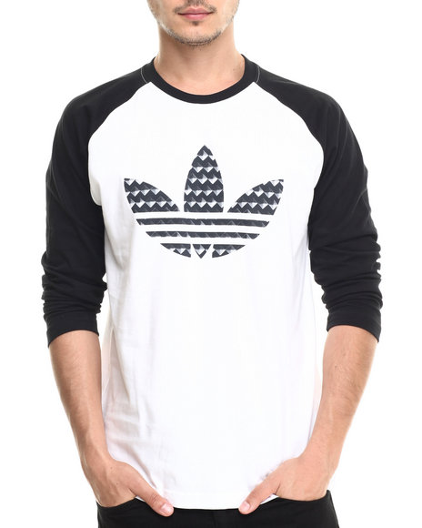 Adidas - Men White Studded Baseball Long Sleeve Tee
