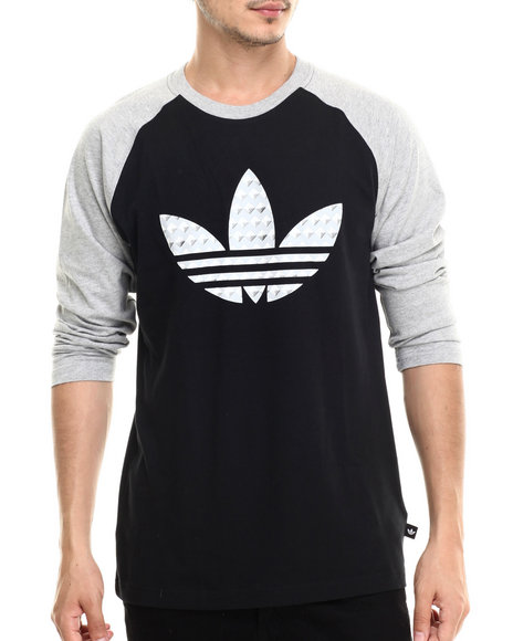Adidas - Men Black Studded Baseball Long Sleeve Tee