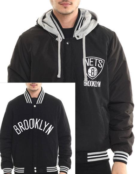 brooklyn nets two tone reversible fleece hooded jacket