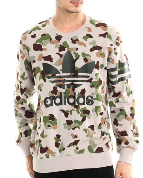 Adidas - Men Charcoal,Brown Camo Sweatshirt - $64.99