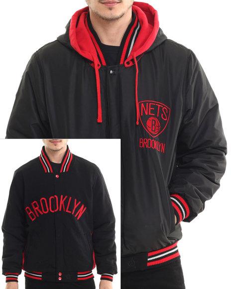 Nba, Mlb, Nfl Gear - Men Black Brooklyn Nets Two-Tone Reversible Fleece Hooded Jacket