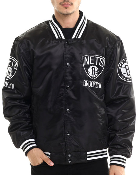 Nba, Mlb, Nfl Gear - Men Black Brooklyn Nets Team Matte Satin Jacket
