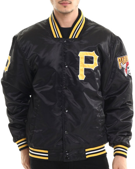 Nba, Mlb, Nfl Gear - Men Black Pittsburgh Pirates Team Matte Satin Jacket