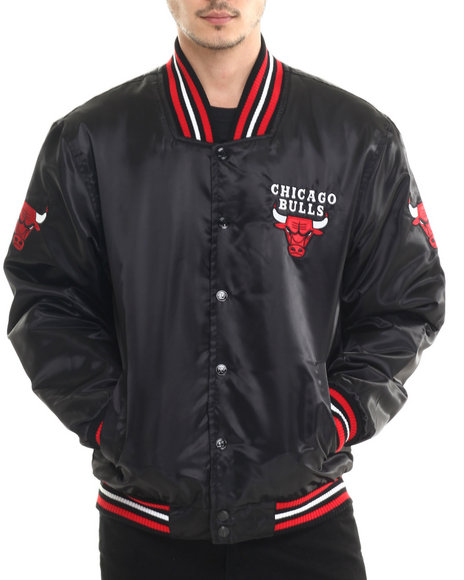 Nba, Mlb, Nfl Gear - Men Black Chicago Bulls Team Matte Satin Jacket