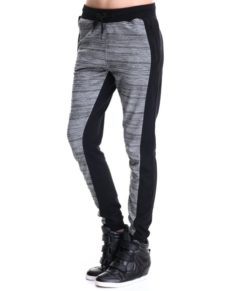 Soho Babe - Women Black Marled Terry Front Solid Back Fleece Jogger Pant