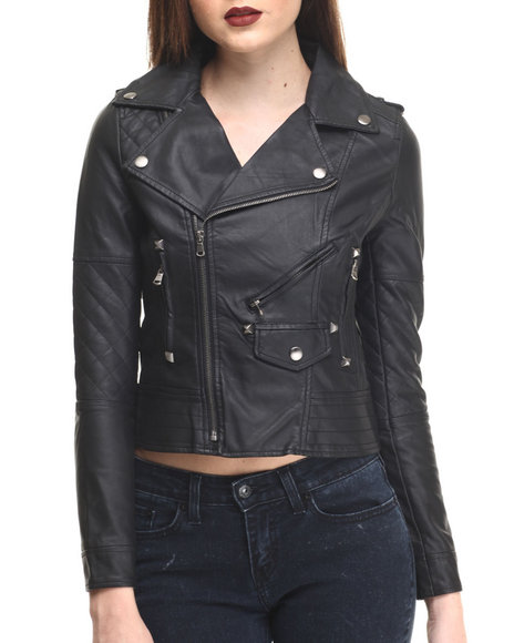 Fashion Lab - Women Black Revved Up Vegan Leather Motorcycle Jacket
