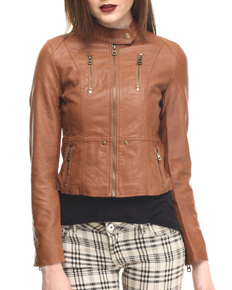 Fashion Lab - Women Brown Classic Vegan Leather Jacket