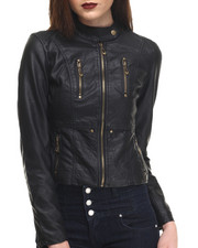 Fashion Lab - Classic Vegan Leather Jacket