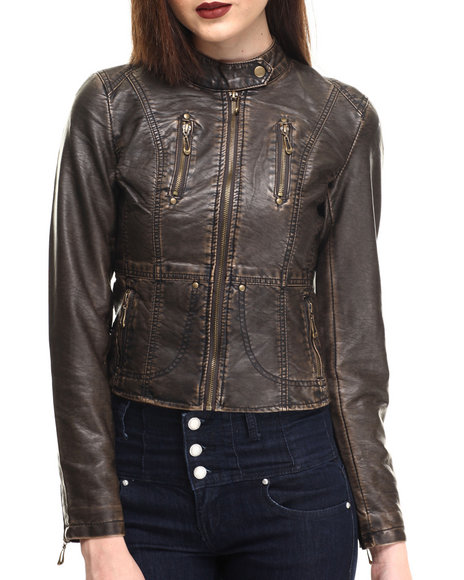 Fashion Lab - Women Bronze Classic Vegan Leather Jacket