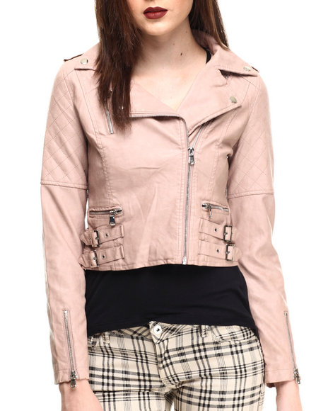 Fashion Lab - Women Light Pink Moto Buckle Vegan Leather Jacket