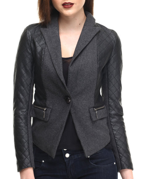 Fashion Lab - Women Charcoal Wool Vegan Leather Quilted Blend Jacket - $21.99
