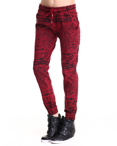 Soho Babe - Women Red Bandana Print Joggers