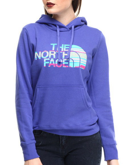 The North Face - Women Blue Texture Stripe Pullover Hoodie