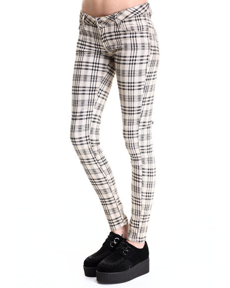 Fashion Lab - Women Khaki Skinny Plaid Pant