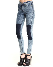Bottoms - 2-Tone Acid Wash Skinny Jean