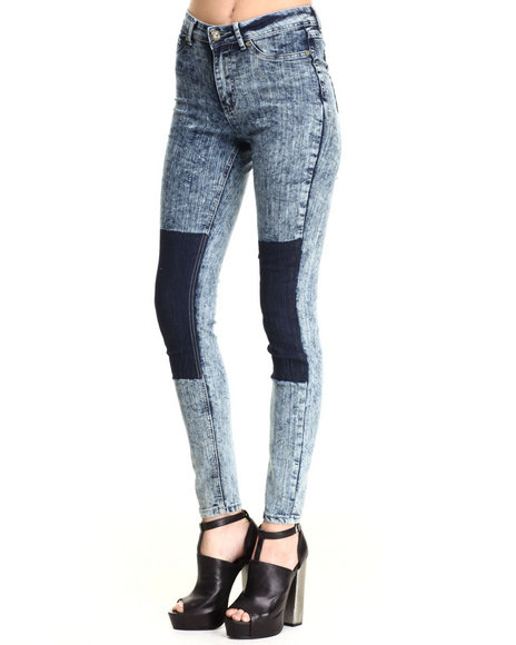 Ur-ID 185111 Baby Phat - Women Light Wash 2-Tone Acid Wash Skinny Jean