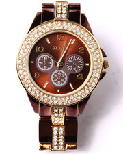 Women - Bling Trim Round Face Metal Watch