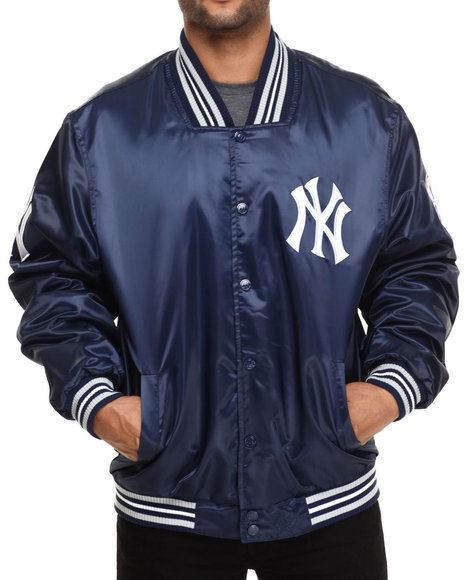 Nba, Mlb, Nfl Gear - Men Navy New York Yankees Team Matte Satin Jacket