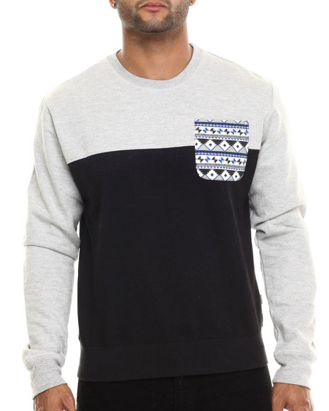 Buyers Picks - Men Black Aztec Pocket Trim Sweatshirt