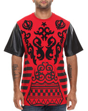 Buyers Picks - Tribal Print / Chenille Patch S/S Tee W/ Faux Leather Sleeves