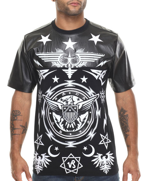 Buyers Picks - Men Black Symbolic Faux Leather / Mesh Printed Jersey - $25.99
