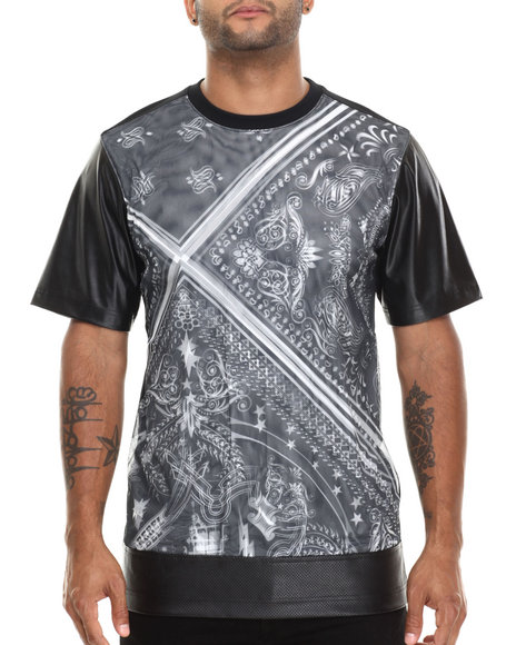 Buyers Picks - Men Black Bandana Print Double - Layer Sublimation S/S Tee W/ Faux Leather Sleeves