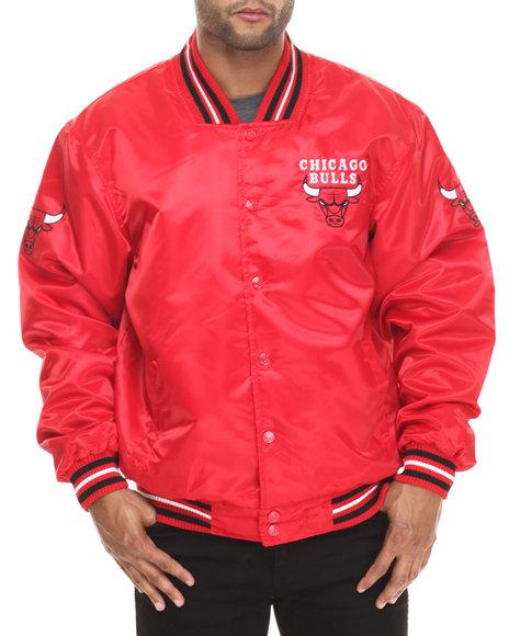 Nba, Mlb, Nfl Gear - Men Red Chicago Bulls Team Matte Satin Jacket