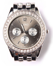 Women - Bling Round Face Metal Watch