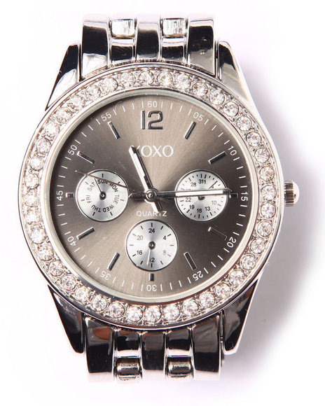 Xoxo Women Bling Round Face Metal Watch Silver