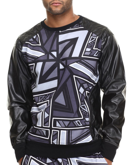 Buyers Picks - Men Black Aztec Party Printed Lightweight Crewneck Sweatshirt W/ Faux Leather Sleeves