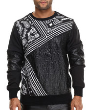 Men - Cut - Block Bandana - Print Light Crewneck Sweatshirt w/ Faux Leather Trim & Sleeves