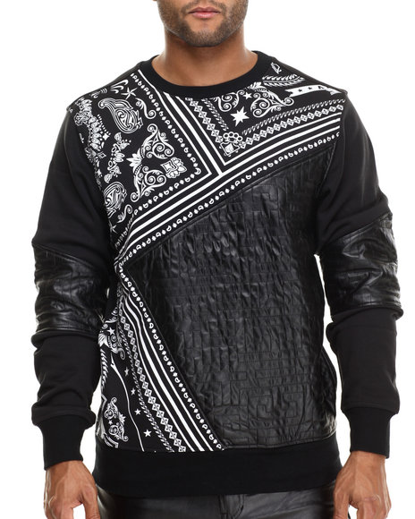 Buyers Picks - Men Black Cut - Block Bandana - Print Light Crewneck Sweatshirt W/ Faux Leather Trim & Sleeves