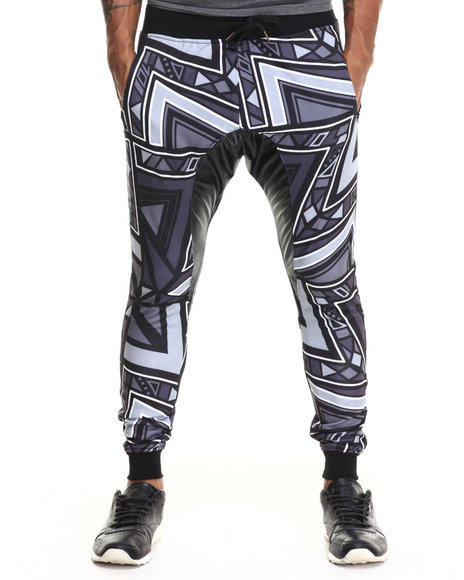 Buyers Picks - Men Black Aztec Party Printed Lightweight Jogger W/ Faux Leather Trim
