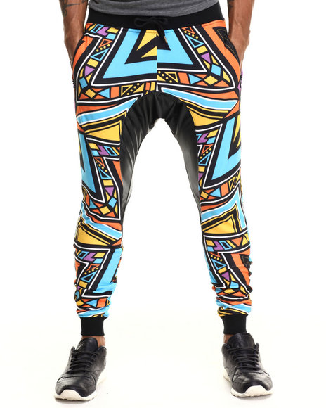 Buyers Picks - Men Multi Aztec Party Printed Lightweight Jogger W/ Faux Leather Trim - $58.00