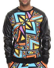 Men - Aztec Party Printed Lightweight Crewneck Sweatshirt W/ Faux Leather Sleeves