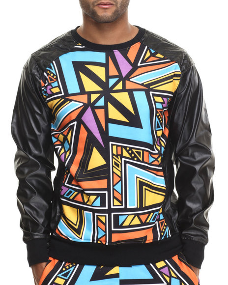Buyers Picks - Men Multi Aztec Party Printed Lightweight Crewneck Sweatshirt W/ Faux Leather Sleeves