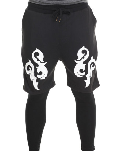 Buyers Picks - Men Black Printed Lightweight Double - Layer Fleece Short And Pant - $35.99