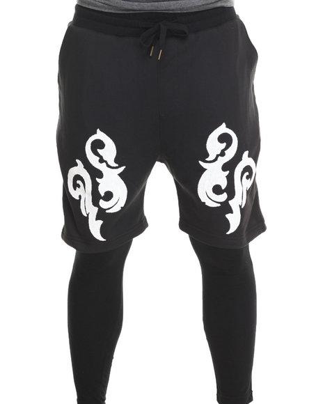 Buyers Picks - Men Black Printed Lightweight Double - Layer Fleece Short And Pant