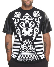 Men - Tribal Print / Chenille Patch S/S Tee W/ Faux Leather Sleeves