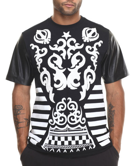 Buyers Picks - Men Black Tribal Print / Chenille Patch S/S Tee W/ Faux Leather Sleeves