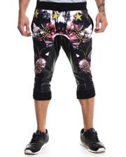 Buyers Picks - Action - Print Lightweight Fleece Capri Pants w/ Faux Leather Trim