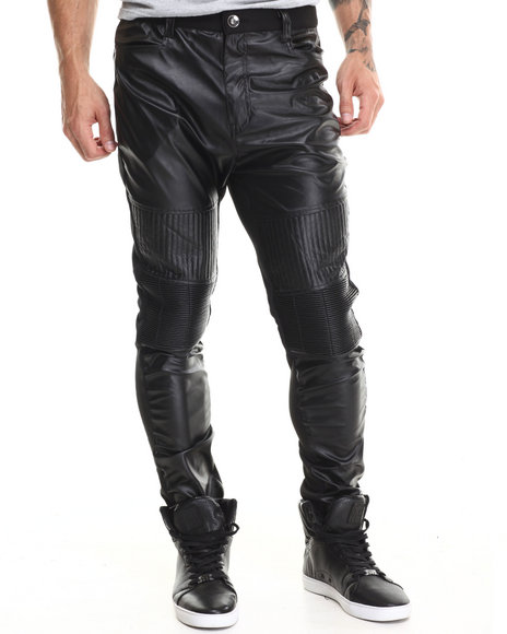 Buyers Picks - Men Black Faux Leather Front / Fleece Back Pants